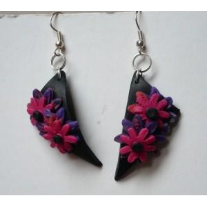 Náušnice FIMO triangle květy - růžový květ