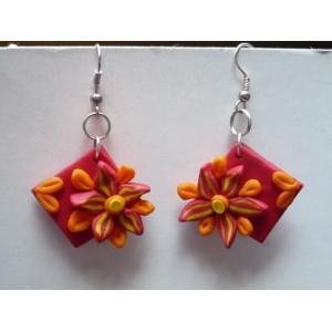 Náušnice FIMO čtverec květy - jarní květ