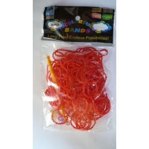 Loom bands gumičky červené vroubkované 200 ks, háček a esíčka