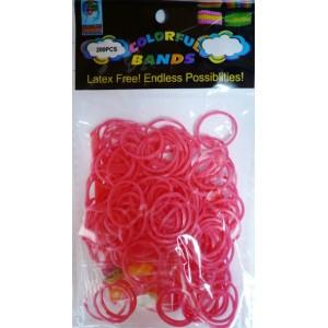 Loom bands gumičky růžovočervené 200 ks, háček a esíčka