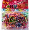 Loom bands gumičky duhované barevné 200 ks, háček, esíčka, malý stav