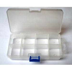 Organizér, malý úložný box, plastická krabička s víčkem 8 přihrádek