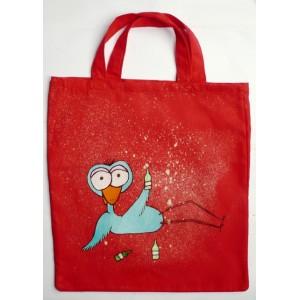 Textilní ručně malovaná nákupní taška opilý pták