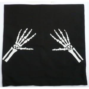 Povlak na polštář, textilní ručně malovaný dekorační polštářek 40 x 40 cm ruce kostlivce