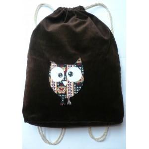 Stahovací vak na záda, batoh 37 x 45 cm, z pevného manšestru s vnitřní kapsou, se sovou