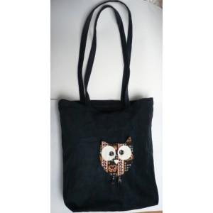 Textilní taška přes rameno 36 x 38 cm, z pevného manšestru s vnitřní kapsou se sovou