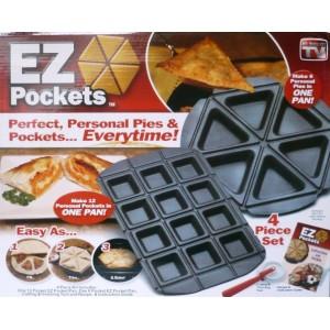 Pečící teflonová forma EZ Pockets, 4 dílný set na pečení kapes a koláčů, pánev pekáč