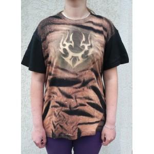 Malované tričko ornament plamen velikost XL