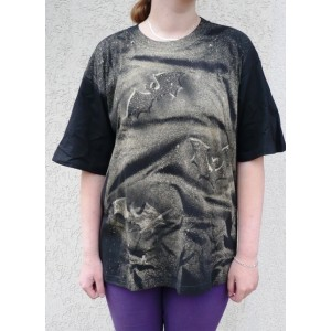 Malované tričko netopýří noc velikost L