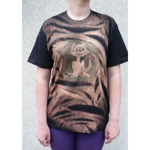 Malované tričko kočka velikost M