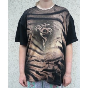 Malované tričko ornament drak velikost XXL