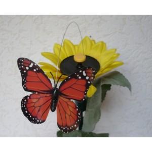 Solární létající motýl na slunečnici Solar Butterlfy oranžový Ohniváček