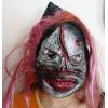 Karnevalová latexová maska s kápí a vlasy lebka