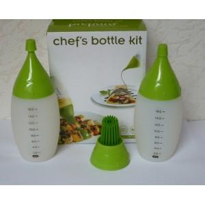 Chefs bottle kit, Silikonové láhve pro zdobení, ochucování, potírání při grilování