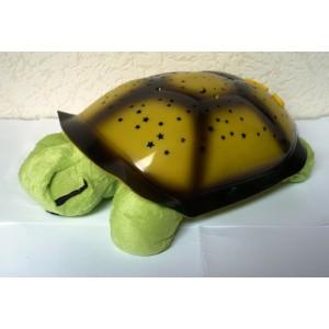Magická svítící a hrající želva - lampička pro děti na usínání žluto zelená