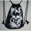 Vak na záda stahovací s potiskem, batoh s černou lebkou