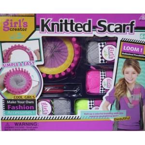 Kreativní sada pletení šály, tkalcovský pletací kruh s bavlnkami a nástroji v krabici