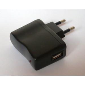 USB nabíječka MINI do zásuvky, napájecí a nabíjecí zdroj, Adaptér 230V - USB 5V/500 mA černý