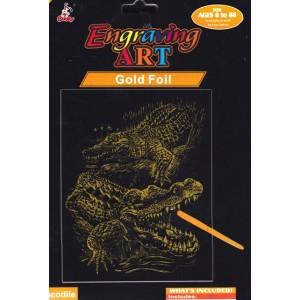 Vyškrabávací obrázek s perem krokodýl gold 19 x 24 cm